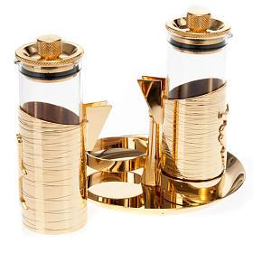 Gold plated watertight cruet set s2