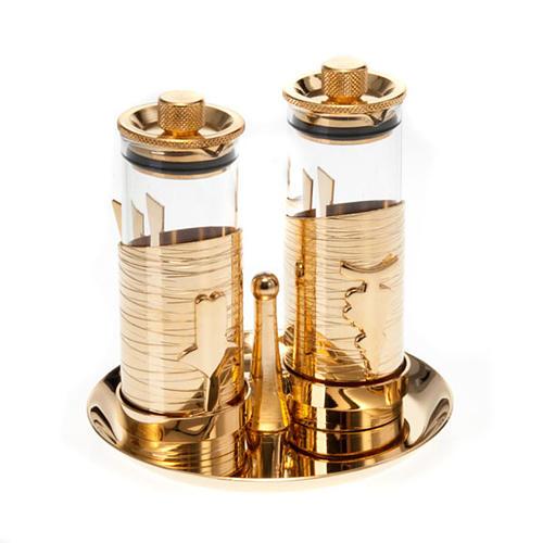 Gold plated watertight cruet set 1