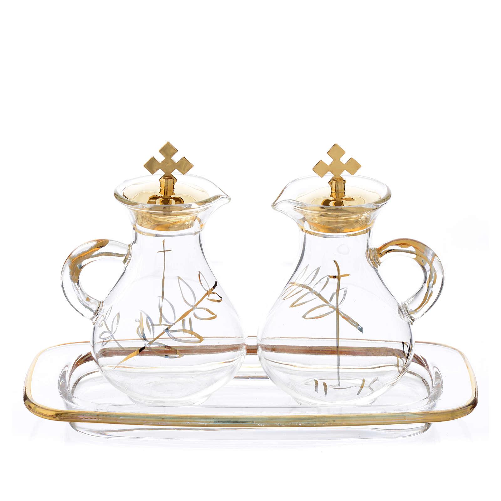 Burettes messe en verre et plateau décorés en or 4