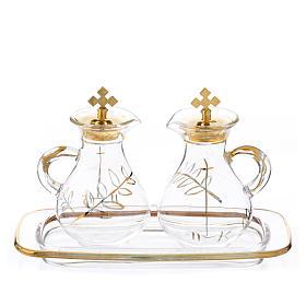 Burettes messe en verre et plateau décorés en or s1