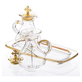 Burettes messe en verre et plateau décorés en or s2