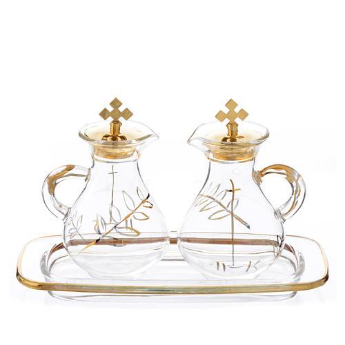 Burettes messe en verre et plateau décorés en or 1