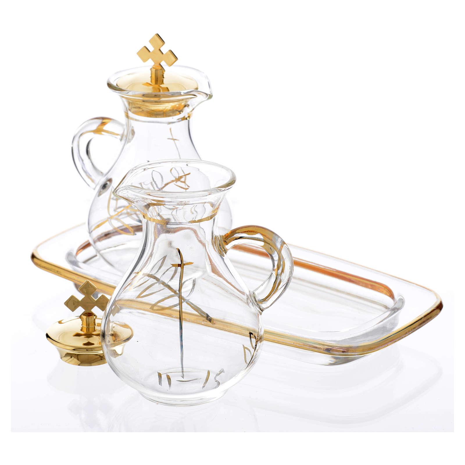 Galhetas em vidro bandeja quadrada decoro ouro 4