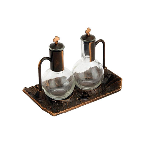 Cruet set with aged-effect brass tray 1