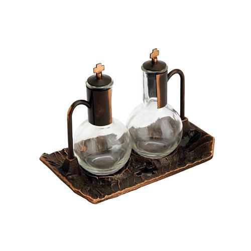 Cruet set with aged-effect brass tray 1