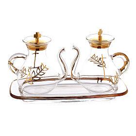Vinajeras decoración dorada con pitón s3