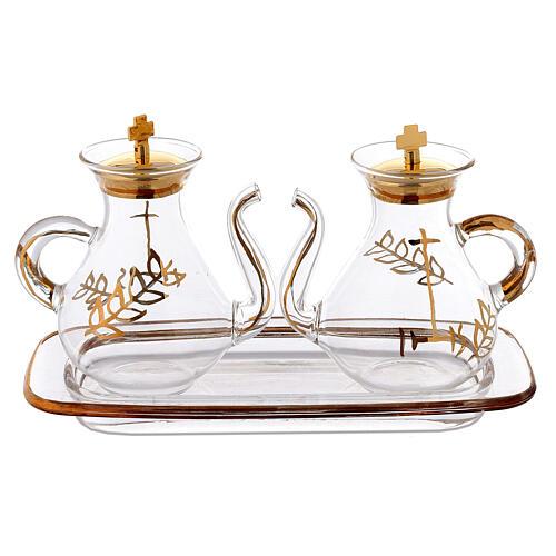 Vinajeras decoración dorada con pitón 1