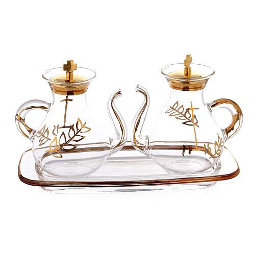 Vinajeras decoración dorada con pitón 3