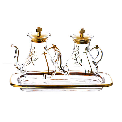 Gold decorated Cruet Set with spout 1