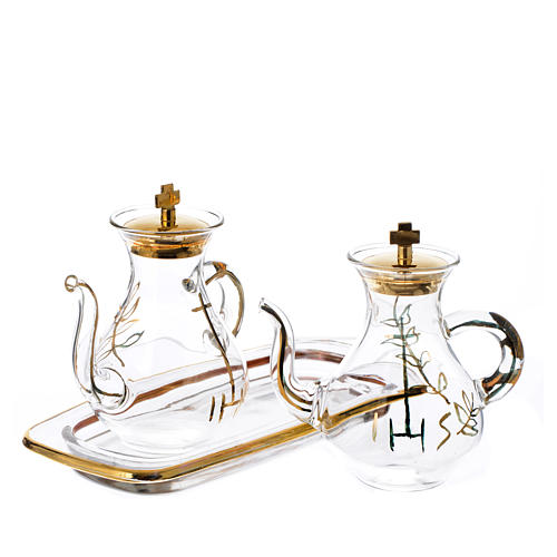 Gold decorated Cruet Set with spout 2