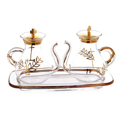 Gold decorated Cruet Set with spout 3