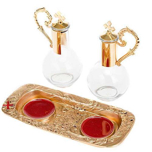 Golden pewter magnetic cruet set 3