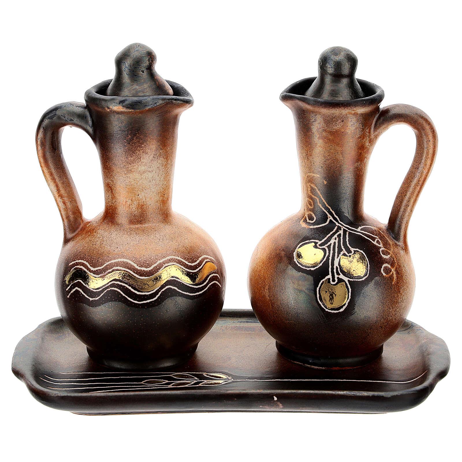 Ceramic round cruet set 4