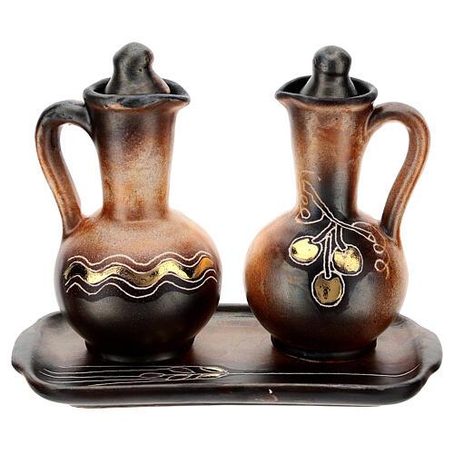 Ceramic round cruet set 1