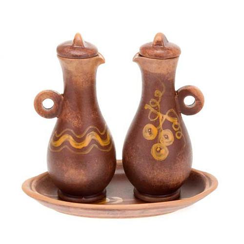 Decorated ceramic cruet set for mass 3