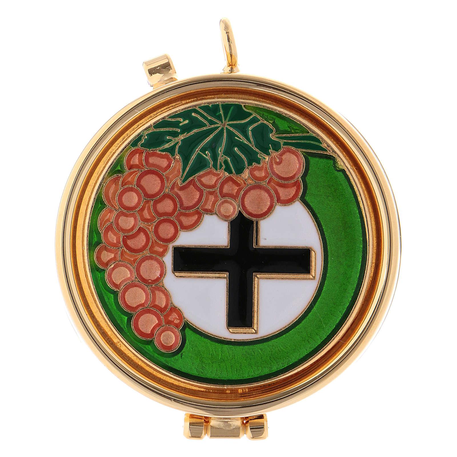 Cyborium naczynie liturgiczne winogron i krzyż 3