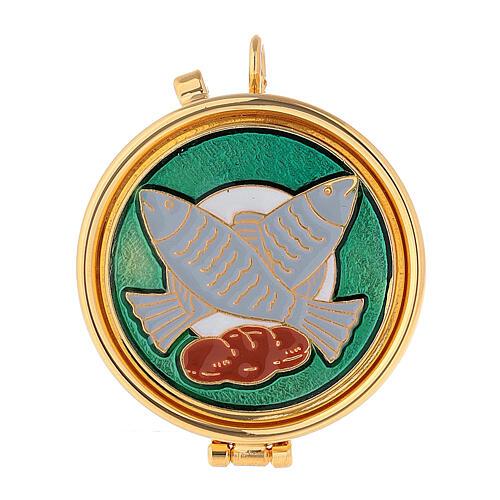 Eucharistische Versehpatene mit Brot und Fischen