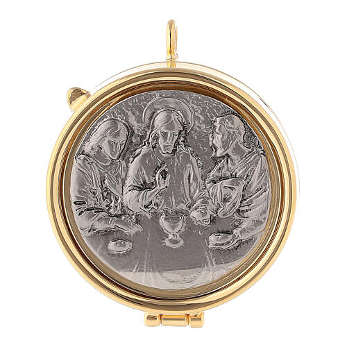 Pyx with pewter Emmaus plate 1
