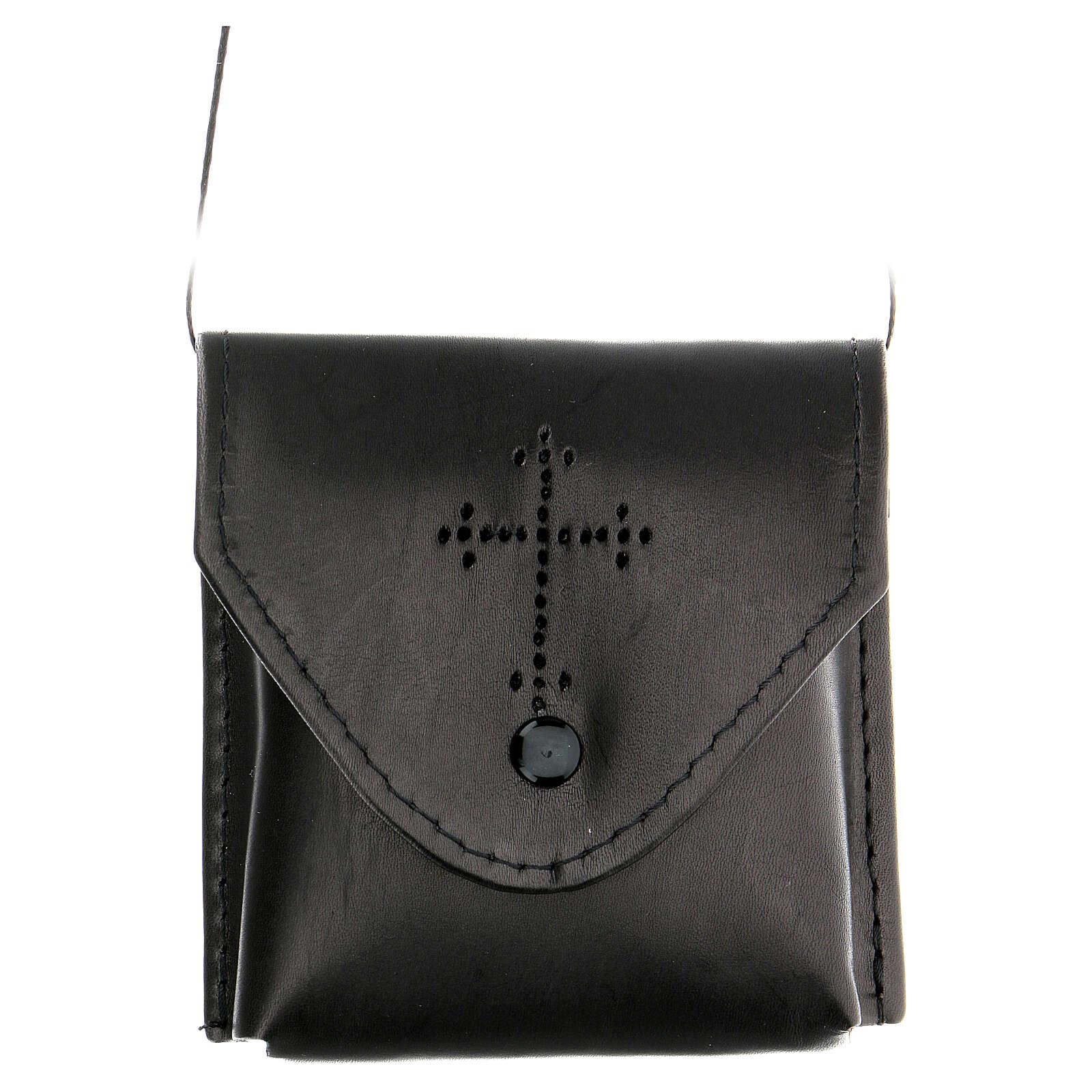 Étui Coffret eucharistique, cuir noir, satin 3