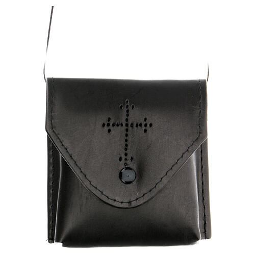 Étui Coffret eucharistique, cuir noir, satin 2