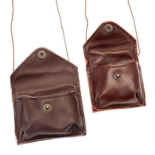 Portaviatico de piel marrón cordoncito 2