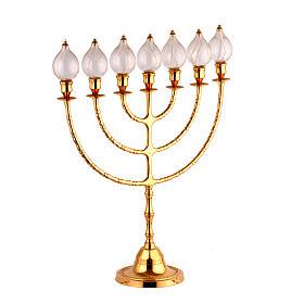 Candélabre Menorah 7 branches ampoules verre s1