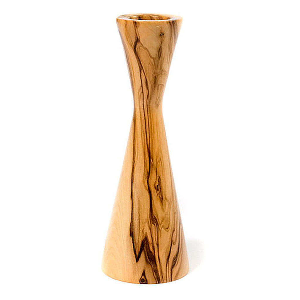 Bougeoir en bois d'olivier stylisé 4