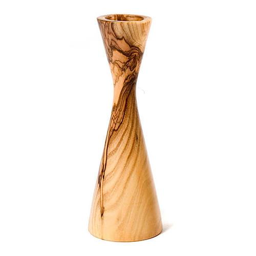 Bougeoir en bois d'olivier stylisé 1