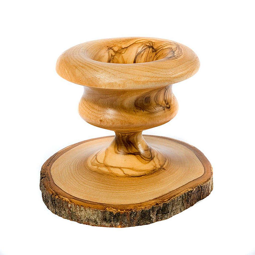 Bougeoir en bois d'olivier avec écorce 4