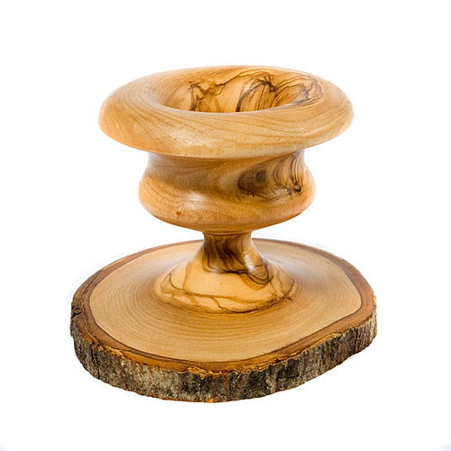 Bougeoir en bois d'olivier avec écorce 3