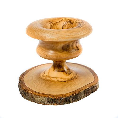Olive wood bark candle-holder 3