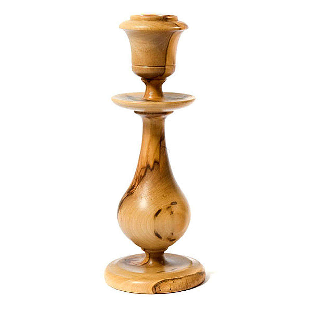 Traditional style olive wood candle-holder 4