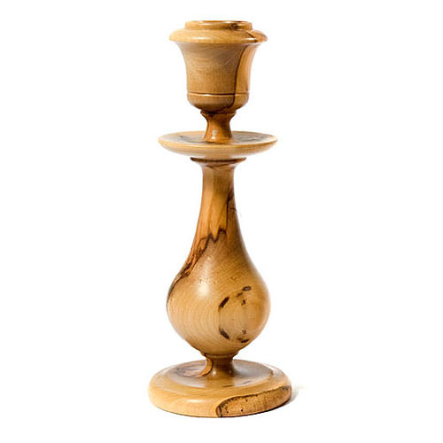 Traditional style olive wood candle-holder 1