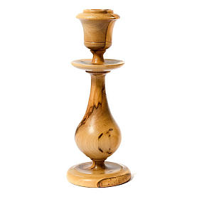 Traditional style olive wood candle-holder s1