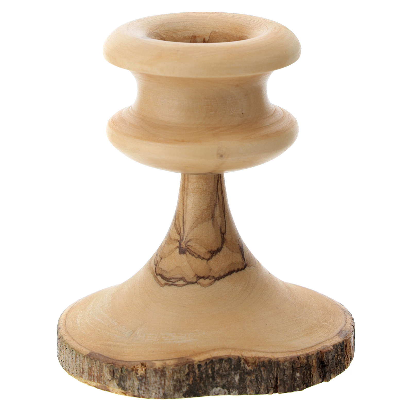 Olive wood bark candle-holder 4