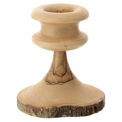 Olive wood bark candle-holder 2