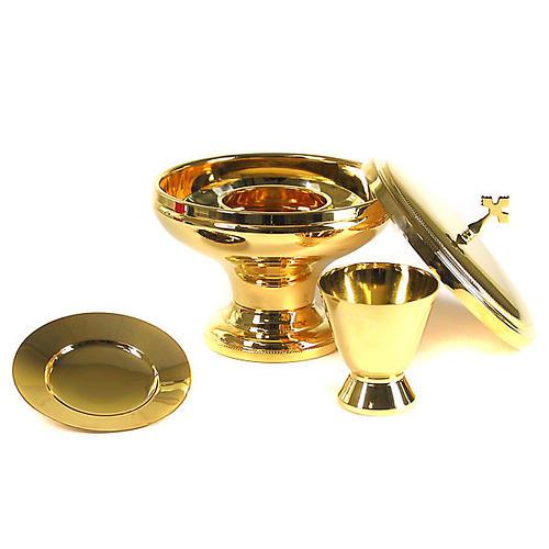 Kommunion-Set aus vergoldetem Messing, glänzend