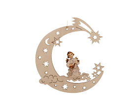 Christmas Decoration of Musician Angel on a Moon with Stars s2