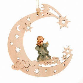 Christmas Decoration of Musician Angel on a Moon with Stars s3