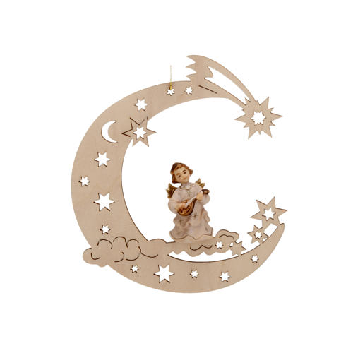 Christmas Decoration of Musician Angel on a Moon with Stars 1