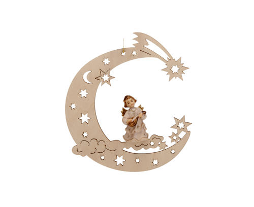 Christmas Decoration of Musician Angel on a Moon with Stars 2
