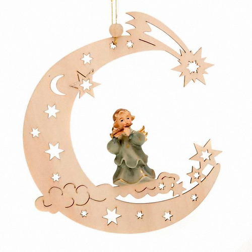 Christmas Decoration of Musician Angel on a Moon with Stars 3