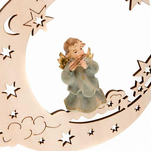 Christmas Decoration of Musician Angel on a Moon with Stars 4