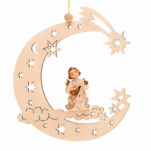 Christmas Decoration of Musician Angel on a Moon with Stars 5