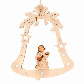 Adornos de madera y pvc para Árbol de Navidad: Angelito músico campana