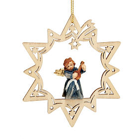 Christmas tree ornaments in wood and pvc: Angel on a Star Christmas Decoration