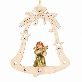 Christmas tree ornaments in wood and pvc: Christmas decor angel on a bell