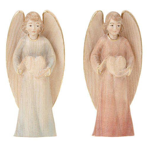 Wooden Angel Statue with Heart 2