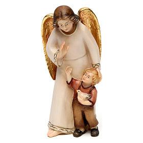 Angelo custode con bambino stile moderno legno Val Gardena s1