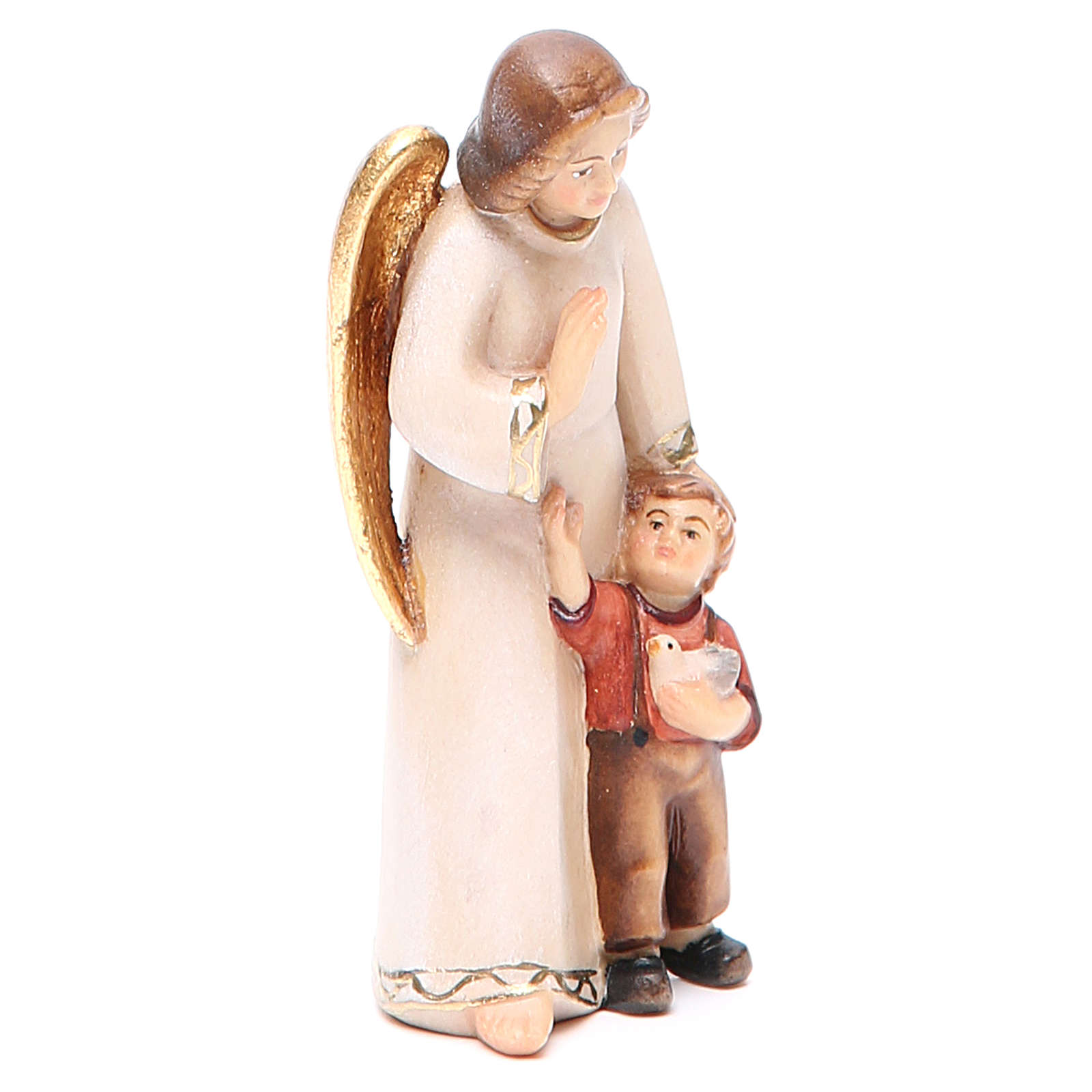 Guardian angel with little boy, modern style in Val Gardena wood 3